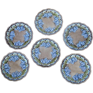 Collection of 6 Majolica Lilac Plates by Villeroy & Boch
