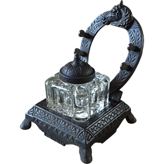 Antique Cast Iron Peck, Stow & Wilcox Co. Horseshoe Inkwell Stand with Pressed Glass Ink Reservoir