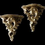 Vintage Gold Gilt Wood Wall Shelf Sconces