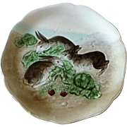 Antique French Majolica Bunny Plate