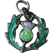 Vintage Silver and Enamel Scottish Thistle Charm