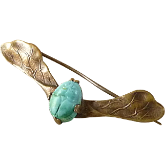 Vintage Egyptian Revival Winged Scarab Pin