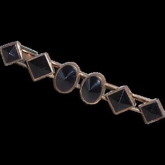 Victorian Black Glass Mourning Bar Pin Brooch