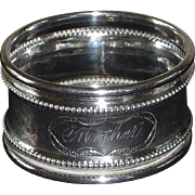 "Coin Silver Napkin Ring Engraved ""Mother"""