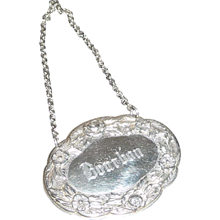 "Sterling Silver S. Kirk & Son Liquor Decanter Label ""Bourbon"""