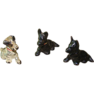 Collection of Three Miniature HUBLEY Dog Cast Iron Place Card Holders