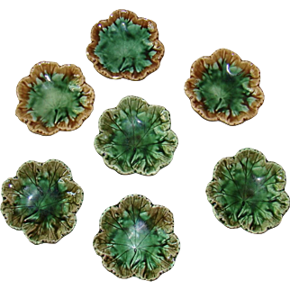 Collection of 7 Antique Etruscan Majolica Butter Pats ~ Griffin, Smith & Hill