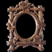 Antique Folk Art Hand Carved Black Forest Miniature Picture Frame for Dollhouse