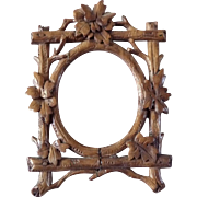 Antique Folk Art Hand Carved Black Forest Miniature Picture Frame for Dollhouse