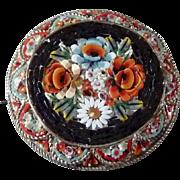 Vintage Italian Micro Mosaic Brooch Floral Pin