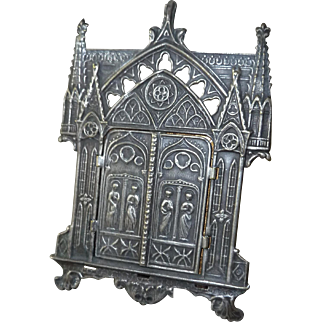 Antique French Silver-plate Miniature Traveling Religious Icon Hinged Picture Frame