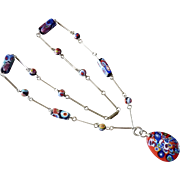 Vintage Italian Murano Glass Millefiori Bead Necklace