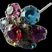 Antique Long Stem Hat Pin Multicolor Faceted Rhinestones