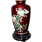 Vintage Japanese Ginbari Red Foil Cloisonne Vase
