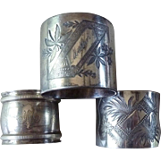 Collection of Three (3) Antique Silver Plate Victorian Napkin Rings