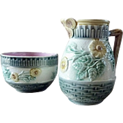 "Antique Griffin, Smith & Hill Etruscan Majolica ""Wild Rose with Butterfly Lip"" Sugar & Creamer"