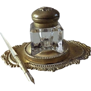 Antique Glass and Brass Lidded Inkwell with Mother of Pearl Dip Pen