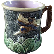 Antique Majolica Cup Mug Pond Lily & Flying Bird