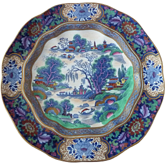 Booth's Silicon China MING Blue Plate with Color Made in England