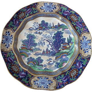 Booths Silicon China Plate Made in England MING Pattern Blue with Color