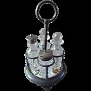Vintage Castor Cruet Condiment Set ~ Metal & Transferware Tile Base