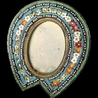 Italian Micro Mosaic Miniature Picture Frame ~  Horseshoe Shape