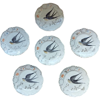 Majolica Plates Swallow Bird in Flight - Collection of Six Plates