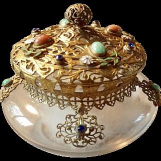 Gold Gilt Ormolu Filigree Jeweled Jar Vanity Dresser Powder Jar
