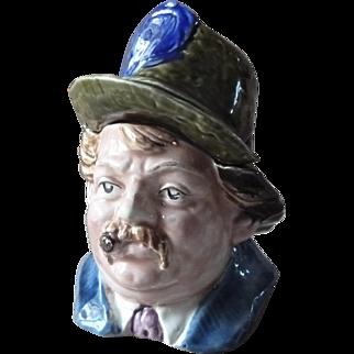 Antique Majolica Figural Tobacco Jar Humidor