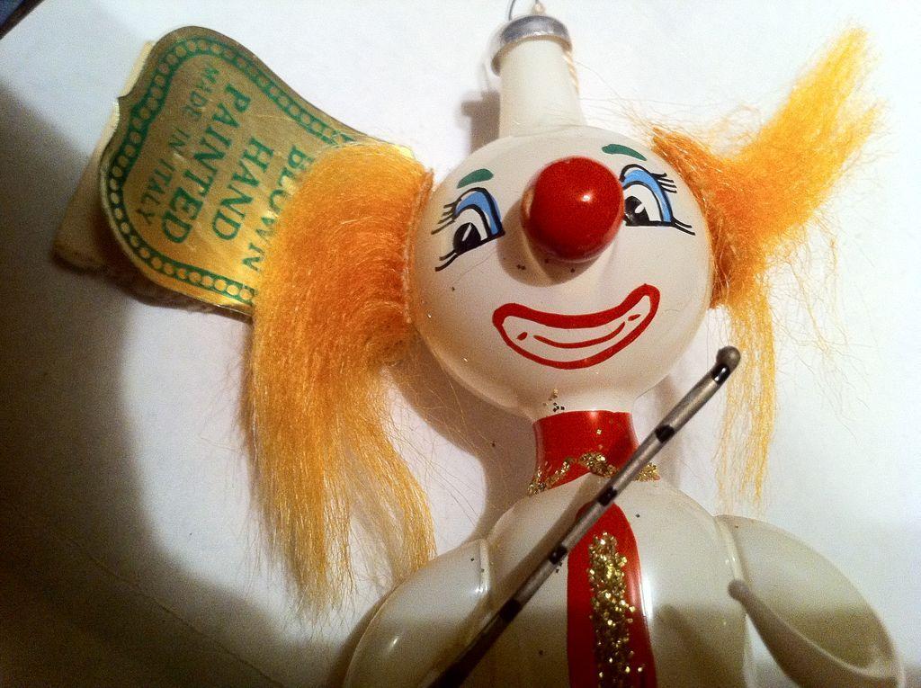 Blown Glass Clown Ornaments