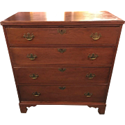 American Cherry Chippendale Chest of Drawers Mid 1800's Graduated Drawers