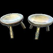 Vintage Brass Footstool Foot Warmer Indian