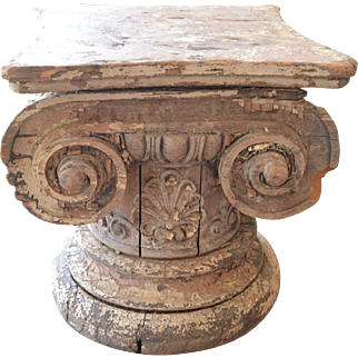 Wooden Iconic Column Capital Table/Fragment