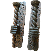 Pair of  Carved Wood Hand Candle Sconces