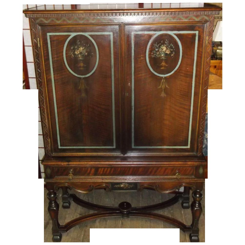 Mahogany Adams Style Server Cupboard Cabinet Linen Press from ...