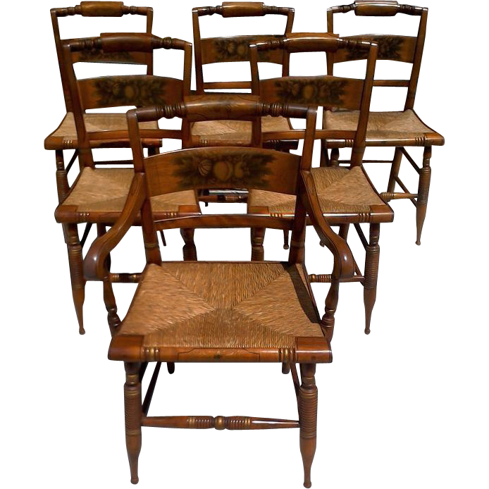 Set Of Six Hitchcock Dining Chairs Cane Rush Seats Arm