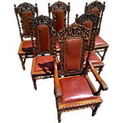 Set of Six Black Forest Carved Oak Grape Barley Twist Leather Seat Chairs - Red Tag Sale Item