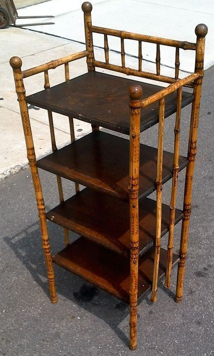 Antique Victorian Bamboo Oak Shelf Bookcase Red Tag Sale