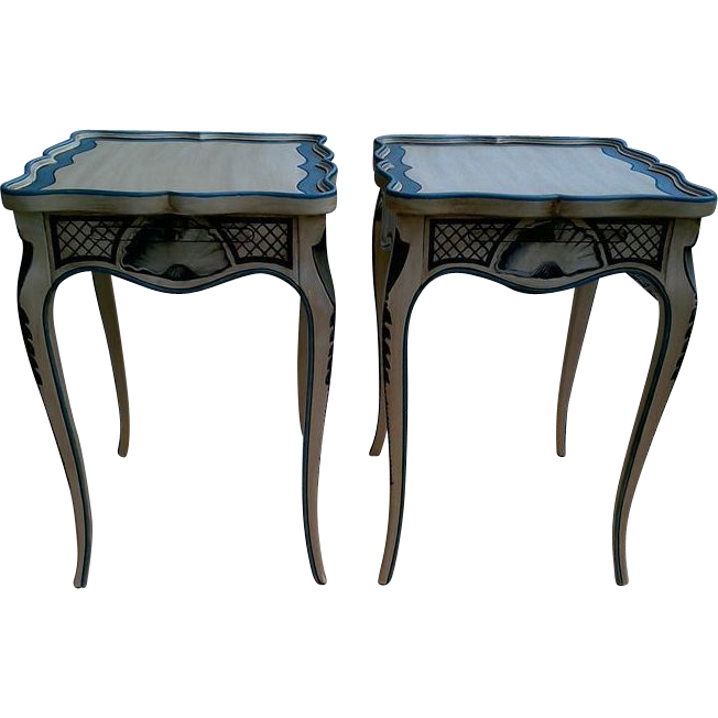 Pair Of Tea Tables With French Style Paint Cabriole Legs