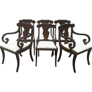 Set of Regency Dining Chairs with Scrolled Arm