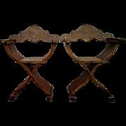 Pair of Italian Savonarola Chairs