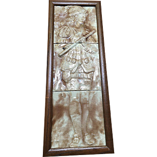 Majolica Figural Musician Tile