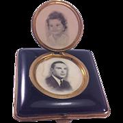 Vintage Enamel Finish Compact with a Locket Photo Holder