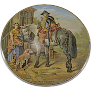 """19th Century English Prattware Pot with Lid """"The Trooper"""""""