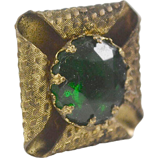 Victorian Hat Pin with Emerald Green Glass