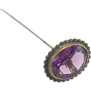 Victorian Hat Pin with Purple Glass