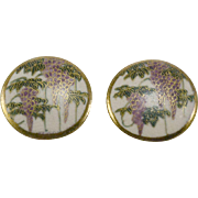 Matching Pair of Japanese Satsuma Wisteria Buttons