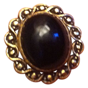 10k Gold Cabochon Black Onyx Ring Size 5