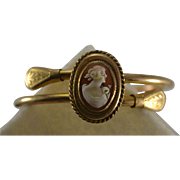 Victorian Gold Filled GF Cameo Bangle Bracelet