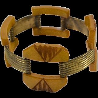 Art Deco Butterscotch Bakelite & Metal Link Bracelet